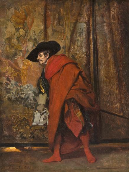 Jehan-Georges_Vibert_-_Polonius_behind_the_curtain